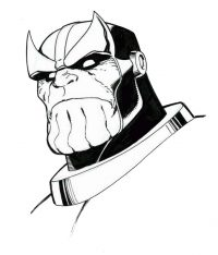 Cruel head of Thanos from the Avengers Endgame Coloring Page