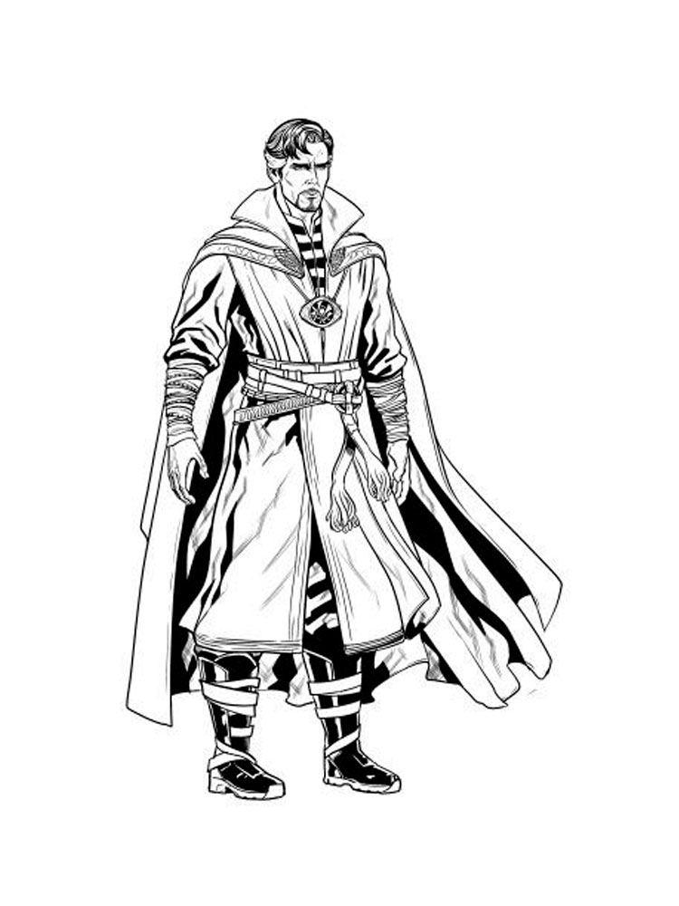 Strange first finding the Cloak of Levitation in Doctor Strange movie Coloring Pages
