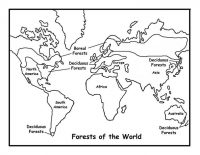 Maps of Major World Forests represent current global forest cover Coloring Page