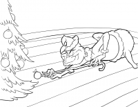 Grinch plays billiard with a bauble Coloring Page