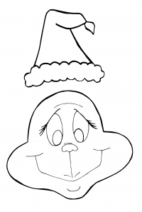The Grinch and Christmas hat Coloring Page