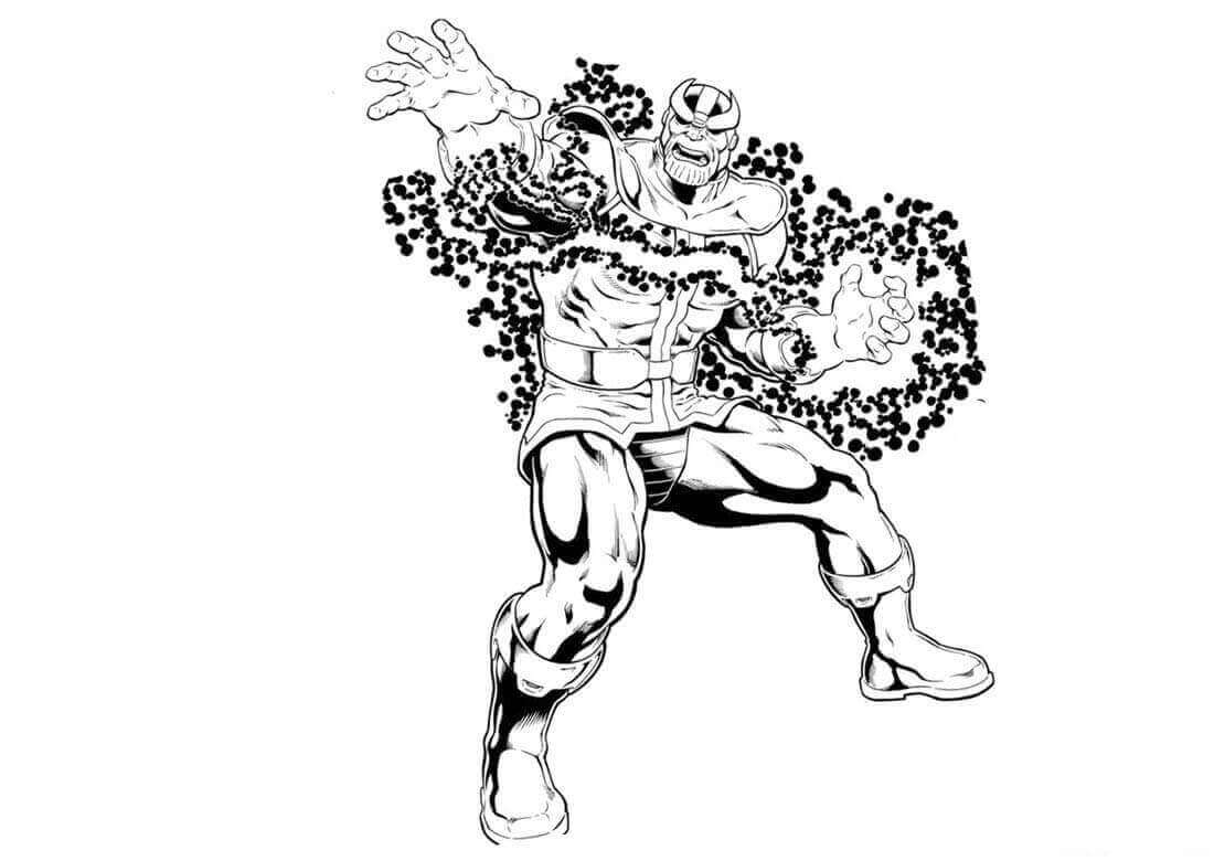 The cosmic energy around Thanos from Avengers Infinty War Coloring Pages