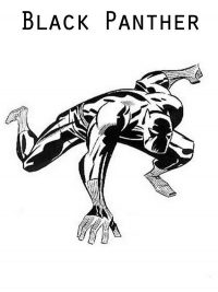 Black Panther from the Avengers series attack enemies Coloring Page