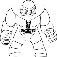 Lego Thanos the fierce Titan on a crusade to collect the Infinity Stones from the Avengers Coloring Page