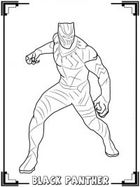 Black Panther from Avengers picture with frame Coloring Page