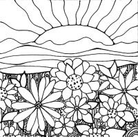 Many flowers on the mountain when sun sets Coloring Page