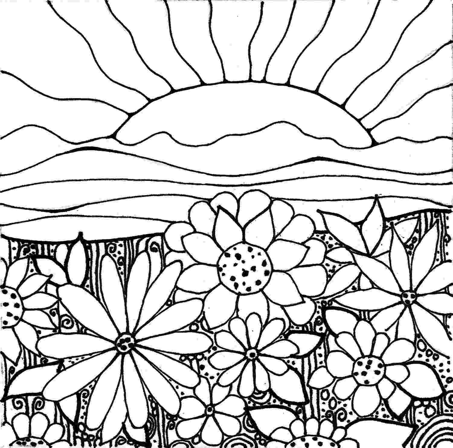 Many flowers on the mountain when sun sets Coloring Pages