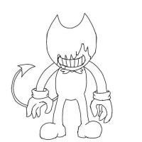The ink covered the crafty face of Bendy Coloring Page