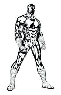 Powerful shaded of Black Panther from Avengers Coloring Page