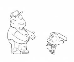 Cricket Green gives his father a chicken in Big City Greens Coloring Page