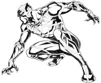 Superhero Black Panther looking for something Coloring Page