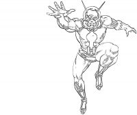 Ant-man in Ant-man cartoon version jumped and tried to catch something Coloring Page