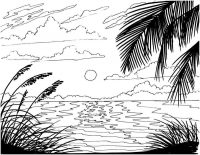 Afternoon at coast on the island in the sunset Coloring Page