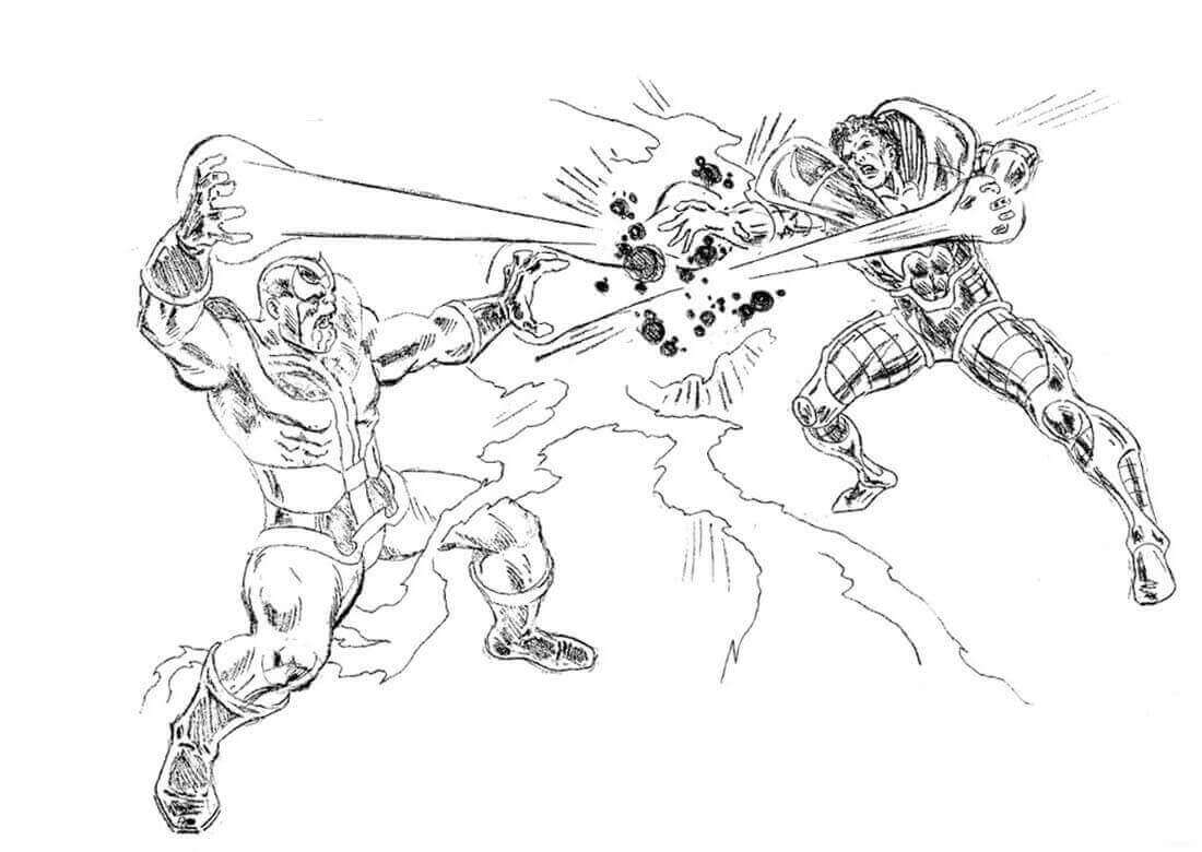Thanos versus Doctor Strange from Avenger Endgame Coloring Pages