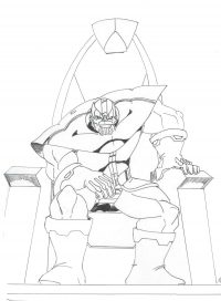 Angry Lord Thanos sits on the throne from the Avengers Coloring Page