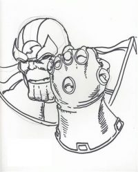 How to draw mad Thanos with Infinity Gauntlet from the Avengers step by step Coloring Page