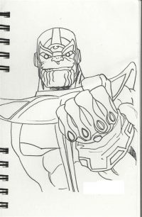 Drawing sinister Thanos with Inifinity Gauntlet on notebook Coloring Page