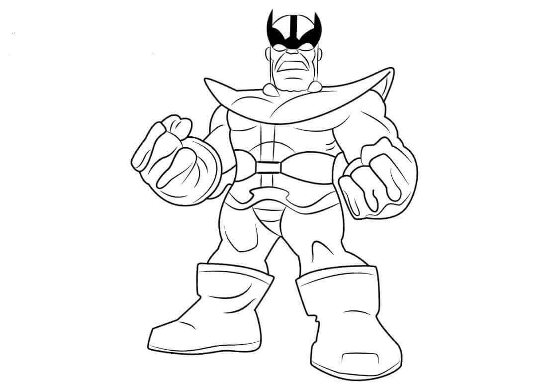 Chibi Thanos from Avengers Endgame Coloring Pages