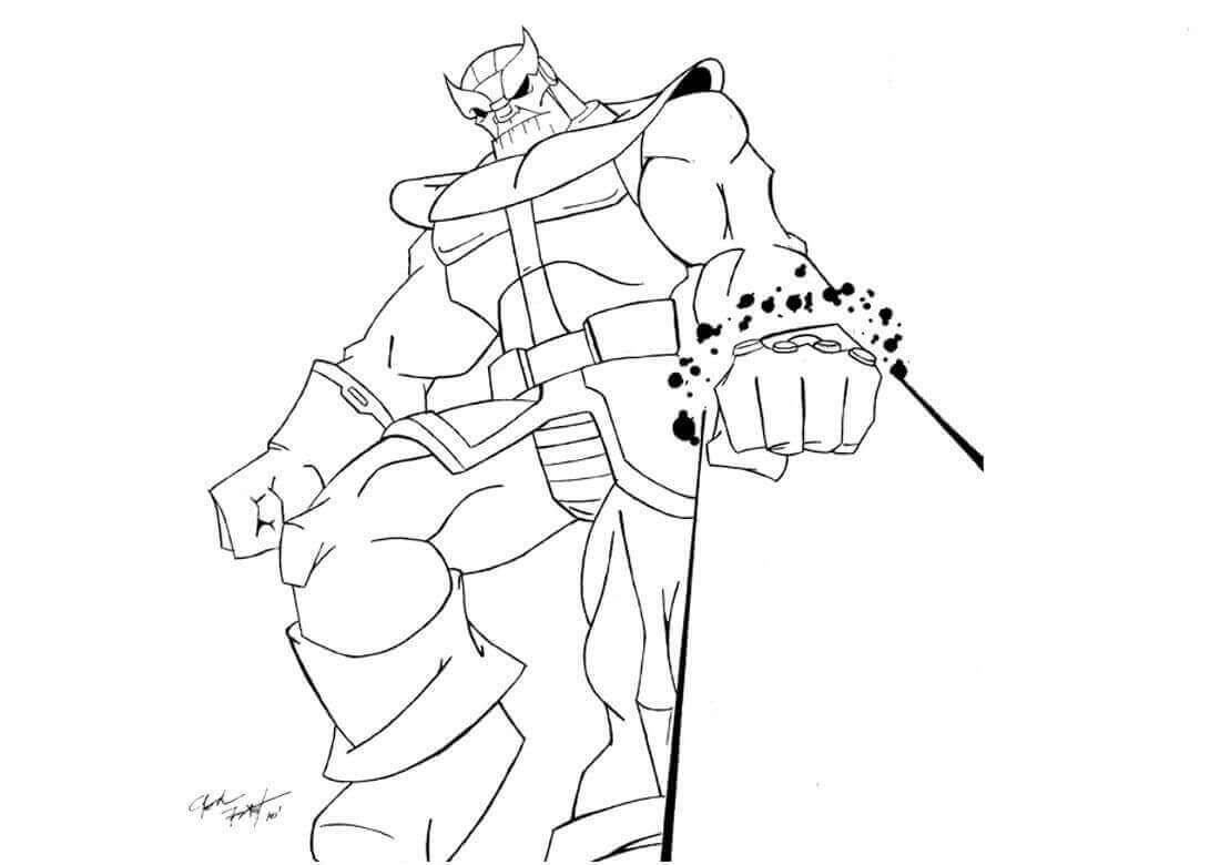 Thanos absorbs vast of cominic energy Coloring Pages