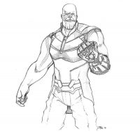 Draw young Thanos with Infinity Gauntlet from the Avengers by pencil Coloring Page
