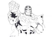 Dangerous Thanos when he has Infinity Gauntlet Coloring Page