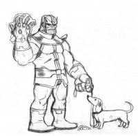 The Avengers Infinity War Thanos and Corgy puppy Coloring Page