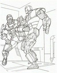 Superhero Iron man hits to the kick enemy Coloring Page