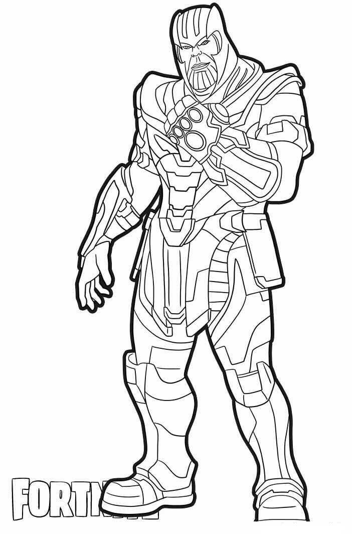 Marvel Thanos has full accessories in Fortnite video game Coloring Pages