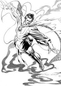 Stephen Strange from Doctor Strange movie flies up and uses Time Stone Coloring Page
