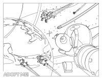 Adopt me Robo Dog became an astronaut in space Coloring Page