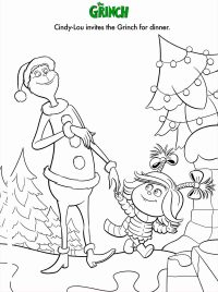 Cindy Lou invites the Grinch for dinner Coloring Page