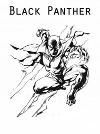 Black Panther from MCU fights to enemies Coloring Page