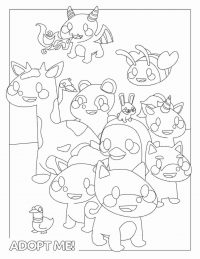 All animals from Adopt me video games Coloring Page