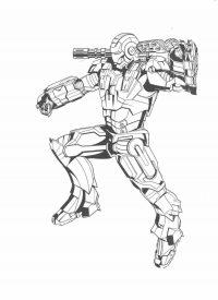 Iron Man puts war machine gun on his shoulder Coloring Page