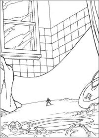 Tiny Ant-man in the bathtub Coloring Page