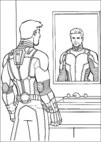 Scott Lang wears superhero suit and looks himself through the mirror Coloring Page