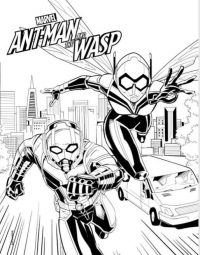 Ant-man runs and the Wasp flies fast in Ant-man and the Wasp movie Coloring Page