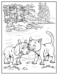 Wolves find the food at the river bank Coloring Page
