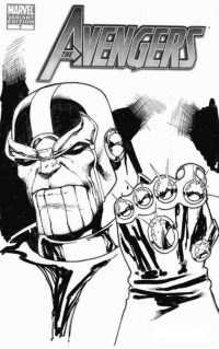Dangerous Thanos successfully assembles the six Infinity Gems into a single gauntlet from the Avengers Coloring Page