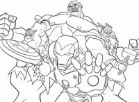 Team of Captain American, Hulk, Iron man and Thor fights against Thanos in Avengers Endgame Movie Coloring Page