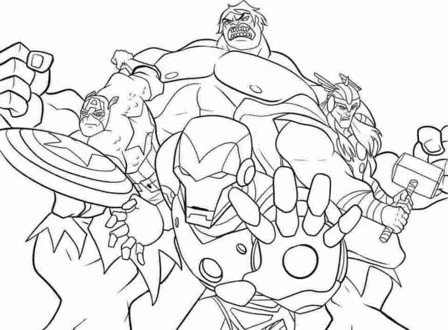 Team of Captain American, Hulk, Iron man and Thor fights against Thanos in Avengers Endgame Movie Coloring Pages