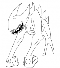 Ink Bendy in the powerful form called Beast Bendy Coloring Page