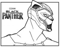 Head and shoulder of Black Panther from Black Panther Movie Coloring Page