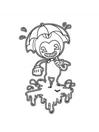 Bendy holds her umbrella and walks away Coloring Page
