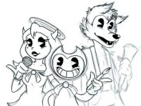 Bendy, Boris the Wolf and Alice Angel in the music performing Coloring Page