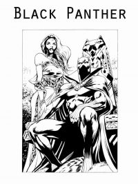 Black Panther King sits on the throne with Queen Coloring Page