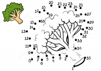 Drawing broccoli vegetable from dot-to-dot for kids Coloring Page