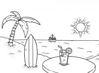 Drink cocktail at the beach in the sunset Coloring Page
