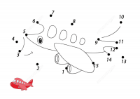 Connect the dots Aircraft cartoon for baby boys Coloring Page