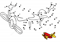 Cartoon Airplan draws dot-to-dot for preschoolers Coloring Page
